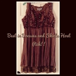 NWOT brown pearl embellished pleated dress